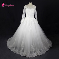 Luxury Berydress Wedding Gown With Royal Train Scoop Neck Casamento Ball Gown Princess Wedding Dress Lace