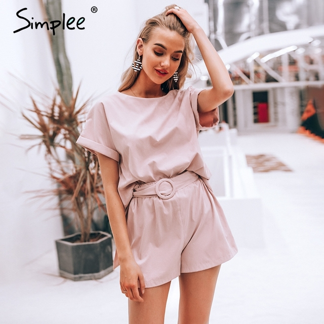 Simplee Solid co-ordinates jumpsuit romper Women streetwear overalls playsuit Ladies top shirt overalls short jumpsuit 2019
