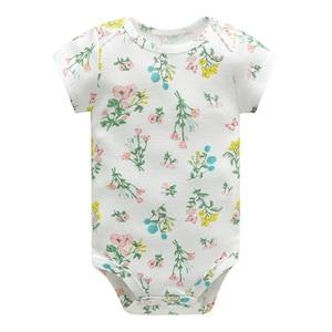 Image 5 - Bebek tulum Bodysuits kısa kollu pamuk sevimli baskı Romper 5 adet yeni doğan bebek kıyafet yaz bebek erkek giysileri seti elbise bebe