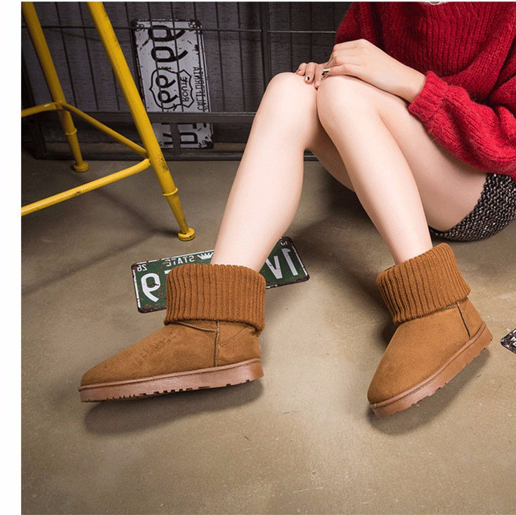 KUYUPP Patchwork Knitting Wool Women Snow Boots Winter Shoes 2016 Flat Heels Warm Plush Ankle Boots Slip On Womens Booties DX119 (37)