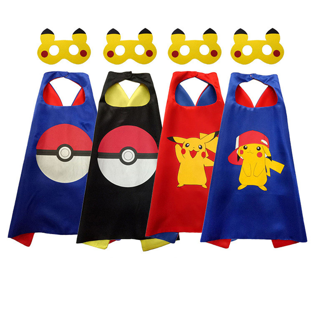 Cosplay anime pikachu printed cloak + mask full Pikachu children Halloween props cute cloak boy/girls Cape cloak mask costumes