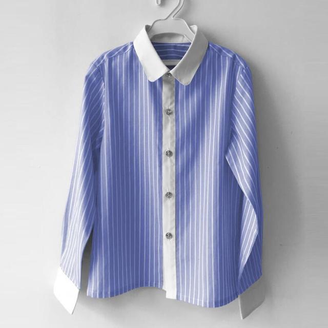 42fa4a76 Gentleman Boy Party Formal Clothes Child Shirts Long Sleeve Turn-down  Collar White Striped Kids School Boys Shirt Tops JW3348
