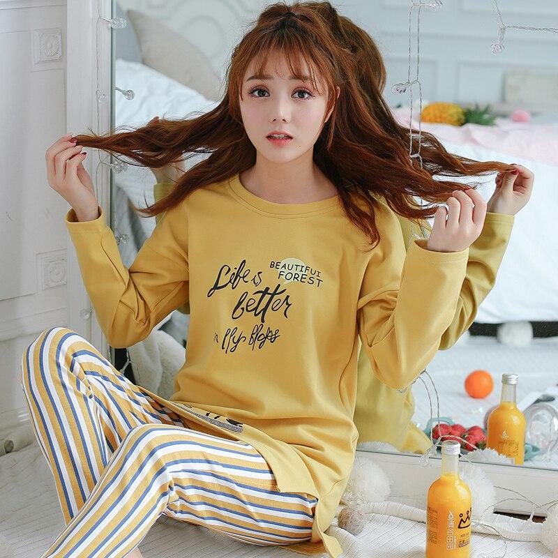 5cc8e13d3e Women Cardigan Pajama Sets Long Sleeve Autumn Winter Cotton Pajamas For Women  Pineapple Mujer Homewear Casual Sleepwear XXXL