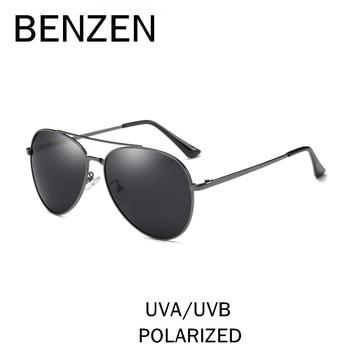 9e742b6af BENZEN Piloto Polarizada Óculos De Sol Dos Homens Do Vintage Óculos de Sol  Masculinos Óculos de Condução Para Os Homens Tons Preto Com Caso 9196