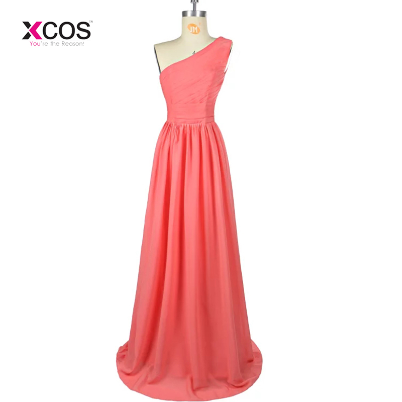 Coral Long   Bridesmaid     Dresses   One Shoulder Vestido Madrinha Longo Chiffon Pleated Formal Prom Gowns Party Wedding Guest   Dress
