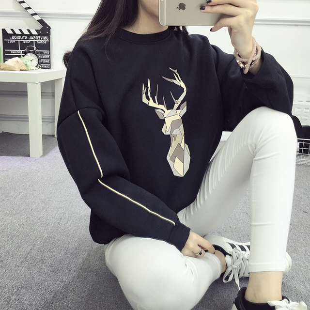 Jielur Winter New BF Harajuku Fleece Loose Tracksuit for Women Kawaii Abstract Fawn Hoodies Pullover Bat Sleeve Sweatshirts XXL