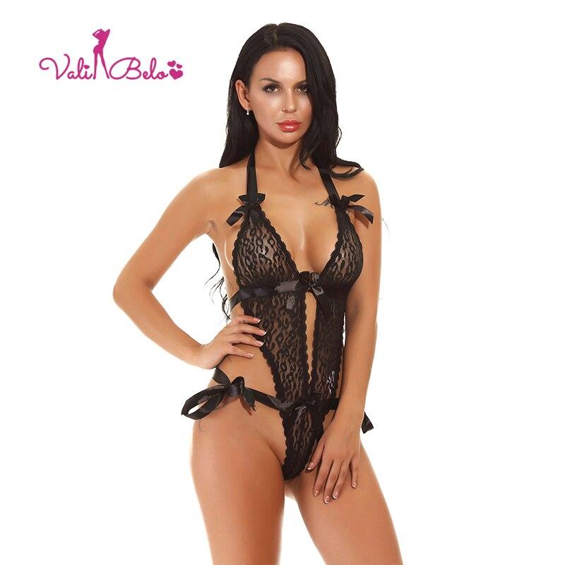 Buy Vali Belo Hot sexy lingerie erotic women Teddy lace bodysuits underwear perspective deep V hanging neck bow decorative underwear