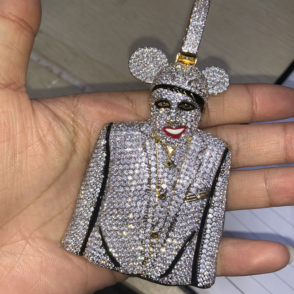 Big Size AAA Cubic Zirconia Bling Iced Out Marilyn Manson MICKY Pendants Necklace for Men Hip