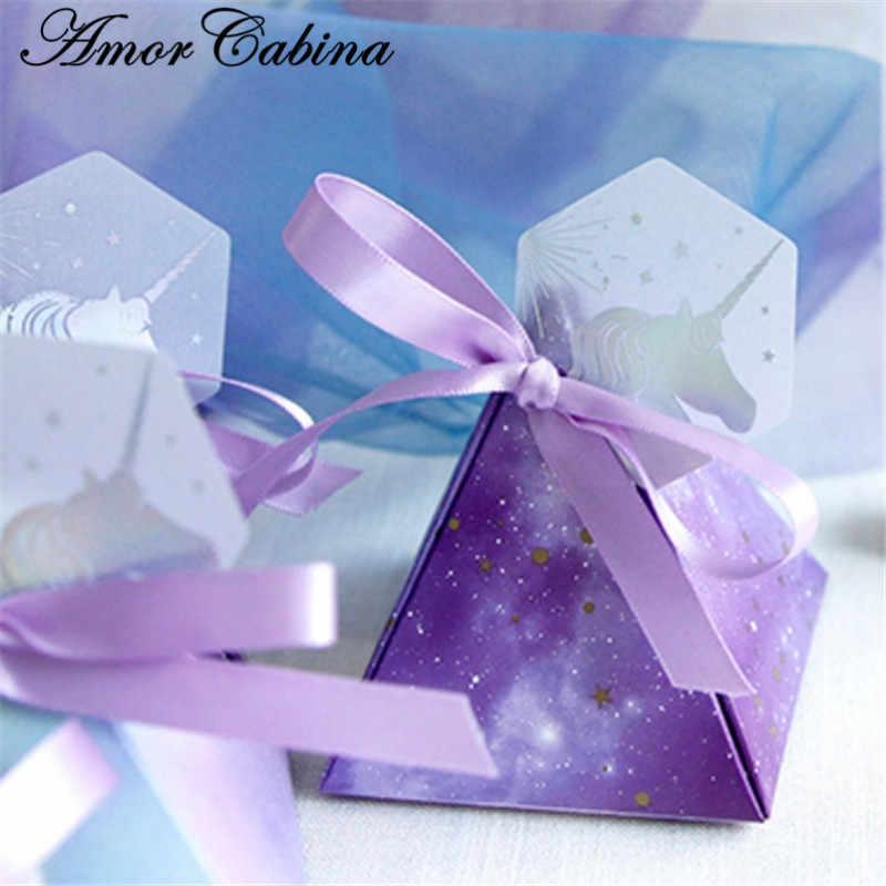 Baby shower púrpura Triangular pirámide estrella cielo boda favores cajas dulces Bomboniera fiesta caja de regalo caja de Chocolate + cintas + etiqueta