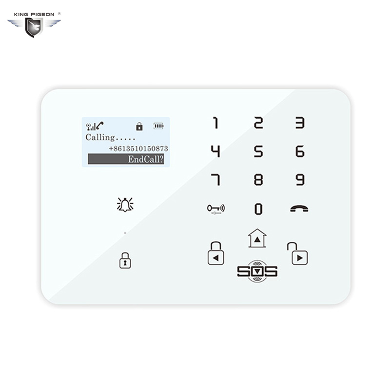 Home Security Alarm System King Pigeon GSM T-care Android Emergency Wireless Siren LCD Display Keypad Chain Spanish Alarm king pigeon t4 direct factory gprs gsm emergency alarm telecare helper system sms for blood pressure monitor with android app