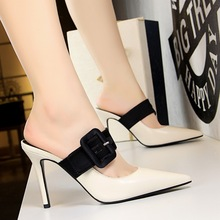 high heels pumps women shoes Stylish belt buckle sexy heels Ladies Party Dress Shoes Slingbacks Pointed Toe Sandals Perspex стоимость