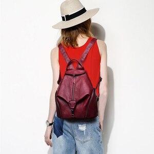 Image 2 - 2019 frauen Leder Rucksäcke Für Mädchen Hohe Qualität Vintage Damen Bagpack Weibliche Sac a Dos Casual Daypack Mochilas Zurück Pack