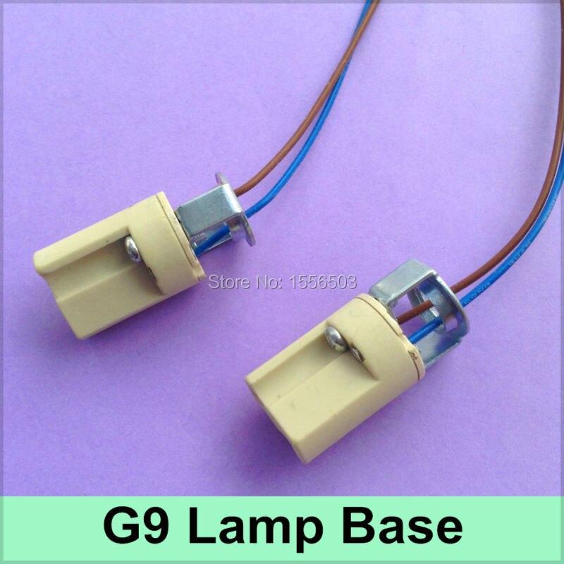 2x g9 ceramics lamp base lamp holder g9 fitting socket led aging test lamp bracket g9 with wire. Black Bedroom Furniture Sets. Home Design Ideas