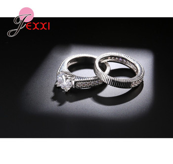 Classical Weeding 925 Sterling Silver 2 PCS Finger Rings For Women Men Super Shining Cubic Zirconia Crystal Accessories 3