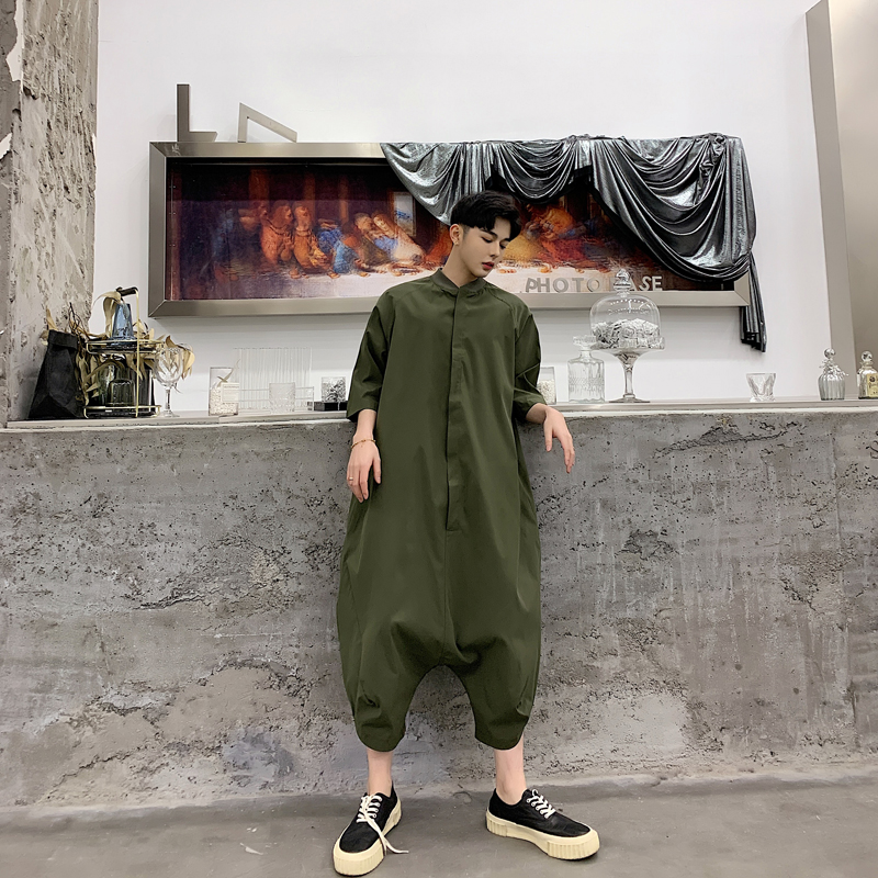 New Loose Men Rompers Short Summer Big Pocket Overalls Male Single Short Sleeve Harem Pants Overalls Harajuku Loose Jumpsuit Skillful Manufacture Men's Clothing