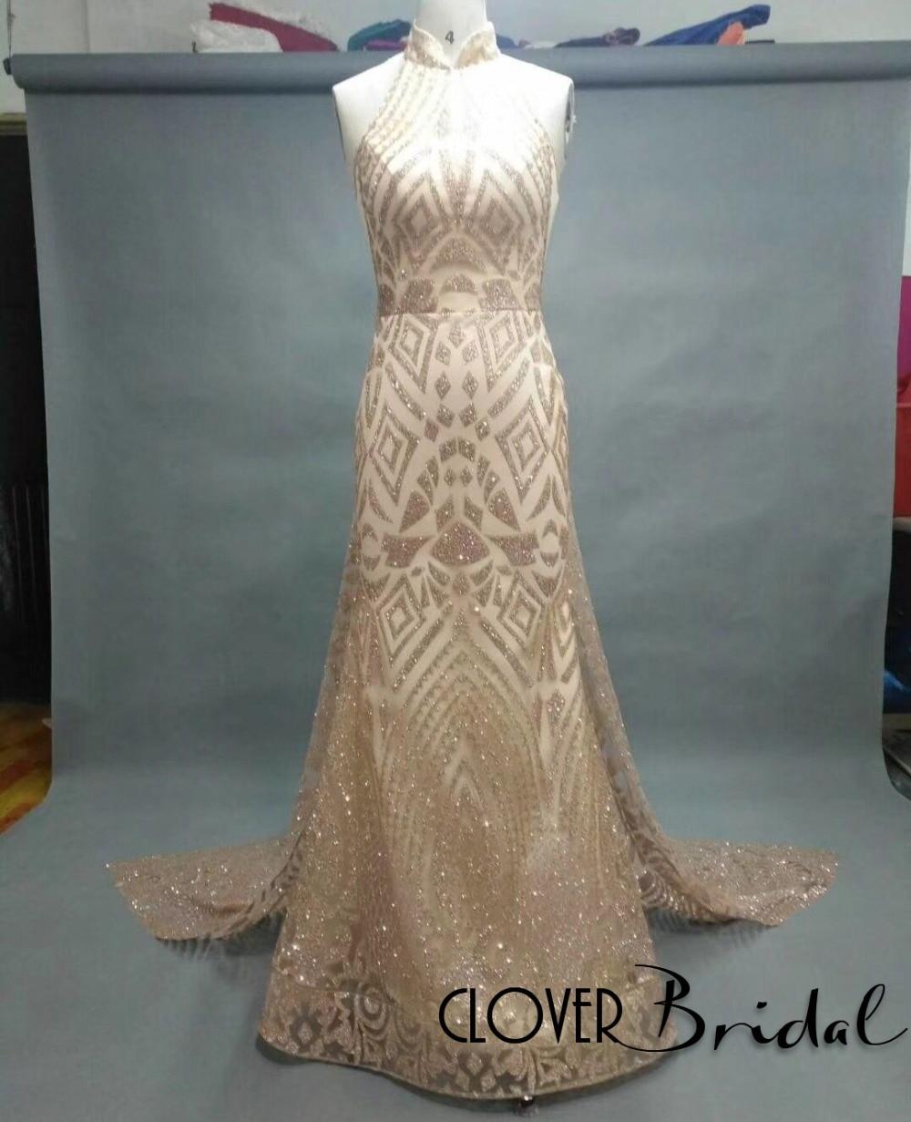 CloverBridal Chic Modern High Neck Sleevless Long Watteau Train   Prom     Dresses   Straight Gold Slim Glitter Net Gown   Dress