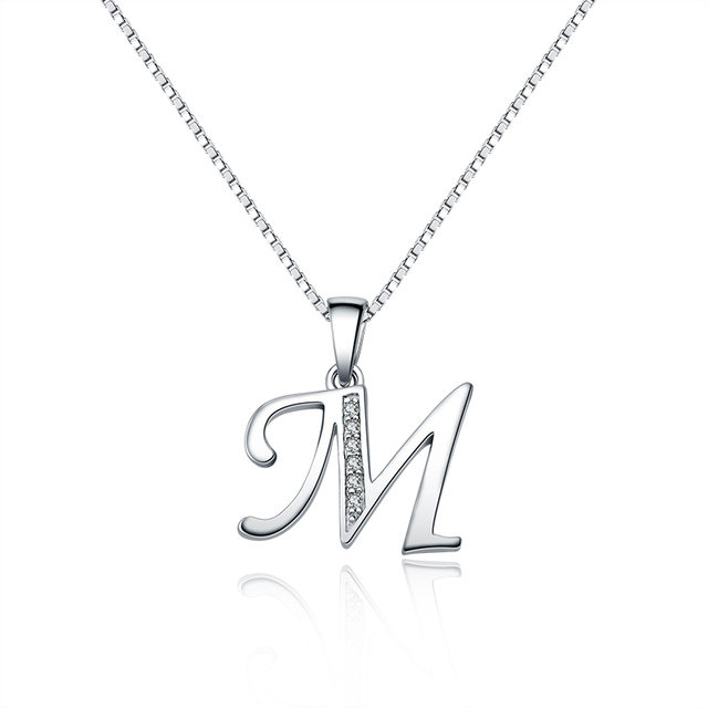 06a6ebad8cf25 QUEEN OF HEART Fine Jewelry 925 Sterling Silver Necklace Personalized Initial  Letter M Pendant Necklace N2
