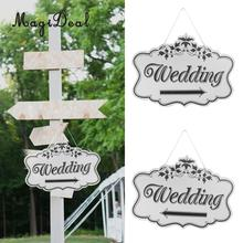 MagiDeal Wedding Sign Wooden Wedding Direction Arrow Sign Engagement Ceremony Reception Outdoor Garland Yard Decor Left/Right