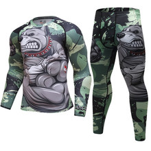Pitbull Suit CrossFit t-shirt+leggings Set Men Thermal Underwear Sunscreen MMA Compression Fitness Jogging Run Sports Clothing(China)