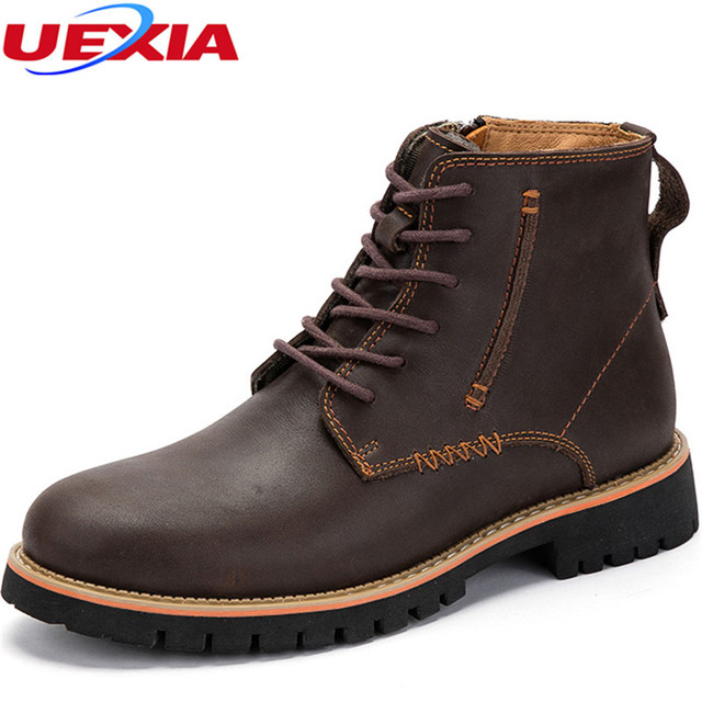 0f93176c702 US $75.0 |Fashion Ankle Boots Men's Autumn Motorcycle Martin Boots Men  Shoes Oxfords Leather Rubber Sole Manual Sewing Zipper High Quality-in  Basic ...