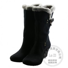 Rubber Pure Color Cement Nubuck Leather Mid-calf Sleeve Buckle Casual Flock Round Toe Wedge Women's Winter Boots Snow Sweet