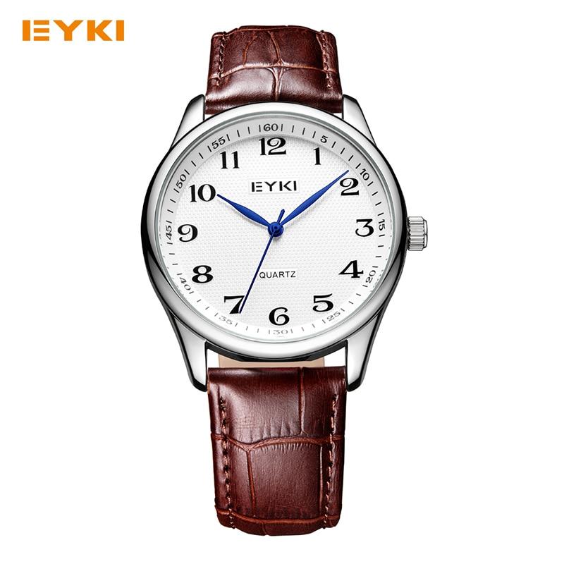 EYKI Men Women Leather Watches Quartz Movement Mineral Reinforced Mirror Waterproof Ladies Wristwatch Classic Lovers Watch