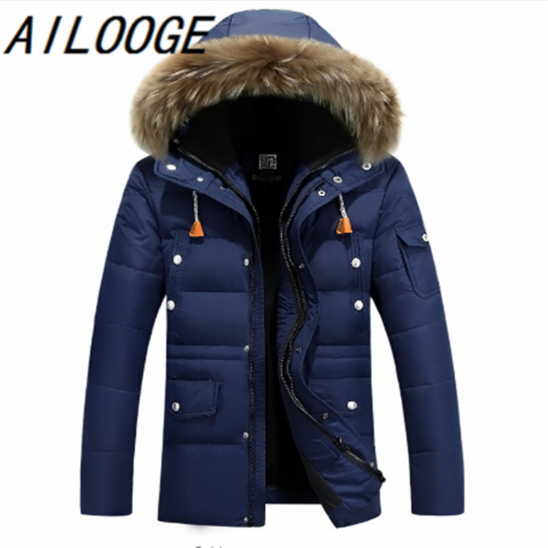 2016 Thick Warm Winter duck Down Jacket for Men Raccoon Nagymaros Collar Parkas Hooded Coat high quality