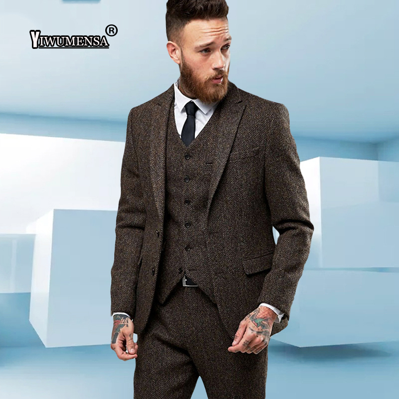 yiwumensa Costume Mariage Homme Men Suits For Wedding tuxedo Tweed  Herringbone smoking groomsmen Blazer mens suits 2018 terno-in Suits from  Men s Clothing ... 05e47bac1d36