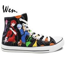 Wen Design Custom Anime Hand Painted Shoes Kuroko's Basketball Birthday Gifts Men Women's High Top Canvas Sneakers