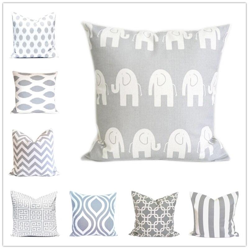 Grey Canvas Cushion Cover,Arrow Chevron Dots Geometric Pillow Cases,White Decorative Sofa Throw Pillow Cover 45*45cm Home Decor