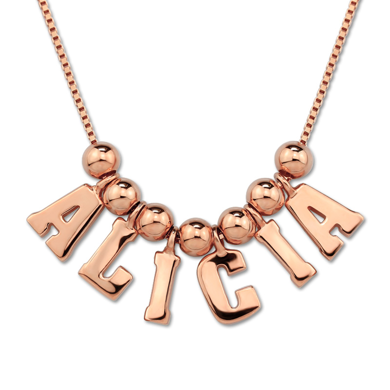 AILIN Customized Name Necklace Rose Gold Color Box Chain Initial Necklace Letter Pendant for Her yoursfs 18k rose white gold plated letter best mum heart necklace chain best mother s day gift