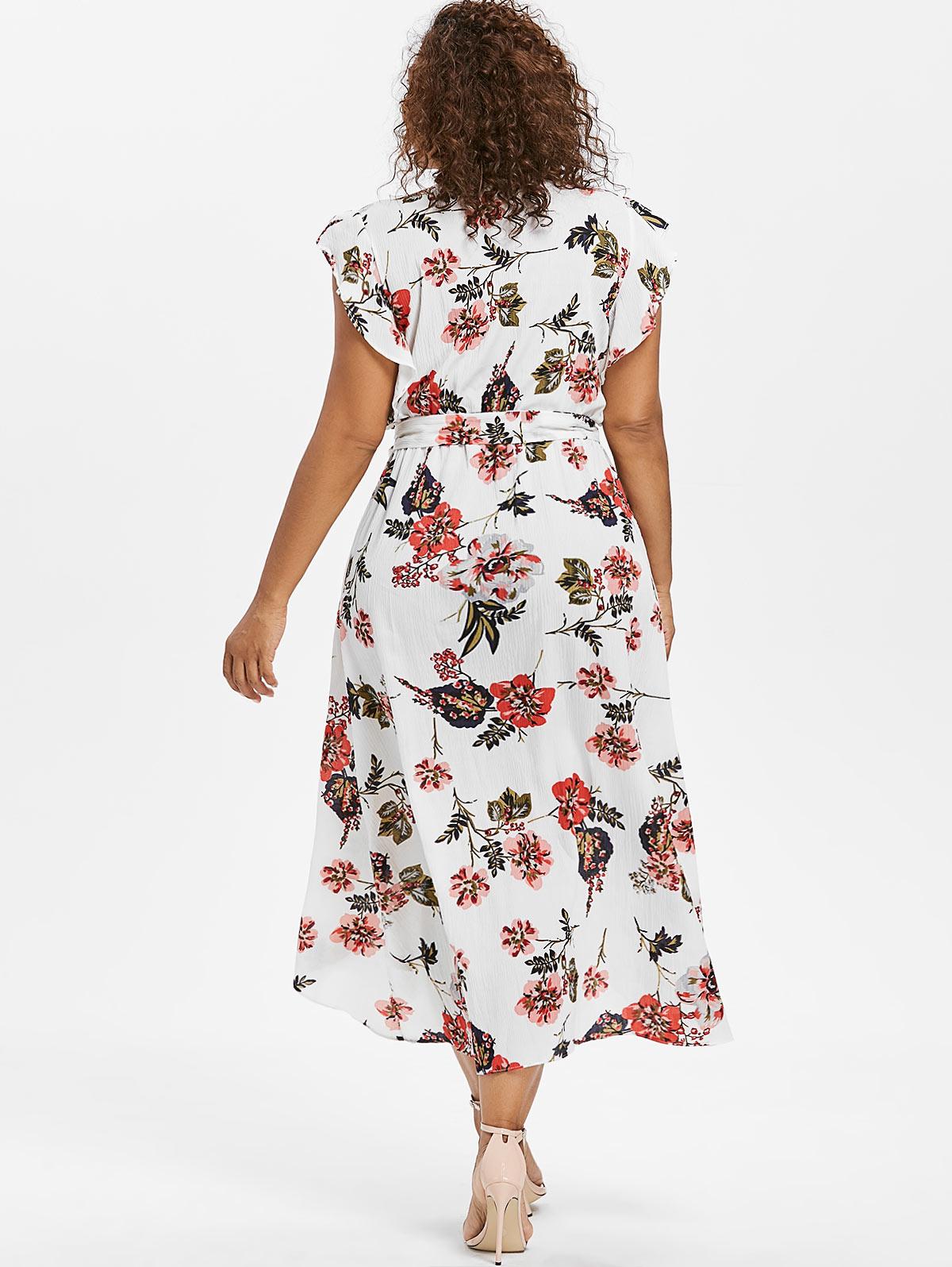 3XL Plus Size Butterfly Sleeve Flower Dress High Low V Neck Ruffle ... 6403b6dfa