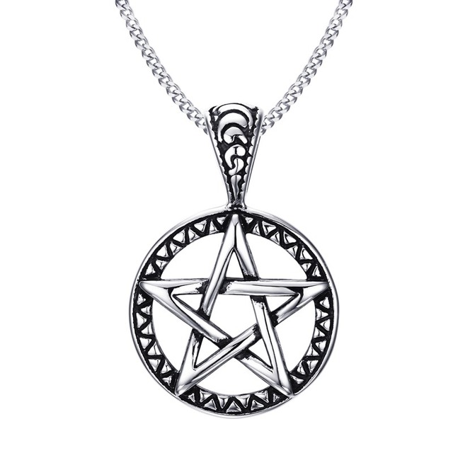"""Vintage Style Jewelry Pentagram Pentacle Pagan Wiccan Witch Gothic Pewter Pendant Necklace for Men Woman 24"""" Chain Choker"""