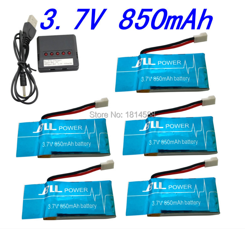 5 pcs 3.7V 850mAh Syma X5SW X5SC X5S X5SC-1 RC Battery with 5 in1 Charger Set for Drone Quadcopter Free Shipping