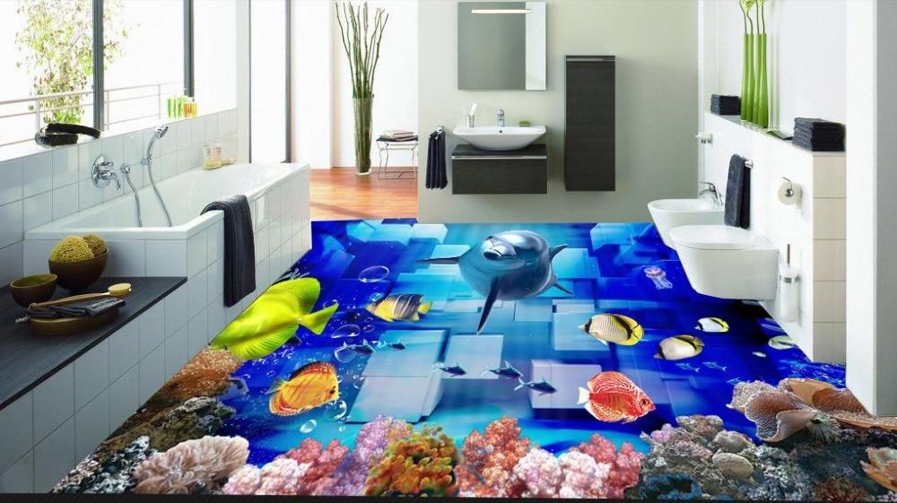 ФОТО 3d floor custom 3d wall murals wallpaper Coral cute dolphin 3d floor tiles Waterproof wallpaper for walls 3d for photo wallpaper