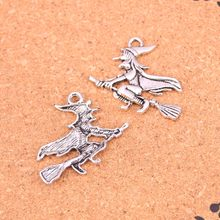 33Pcs Antique Silver Plated witch on broomstick halloween Charms Diy Handmade Jewelry Findings Accessories 36*34mm