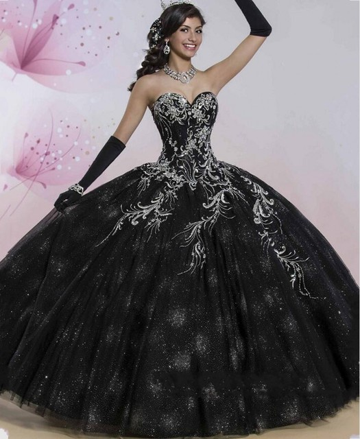 Anti Luxury Black Quinceanera Dresses 2016 Shimmering Skirt Softly