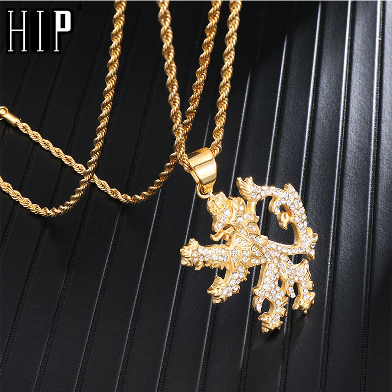 HIP Hop Animal Bling Iced Out Gold Color Lion Pendants Necklaces for Men Jewelry Chain Stainless Steel Dropshipping in Pendant Necklaces from Jewelry Accessories