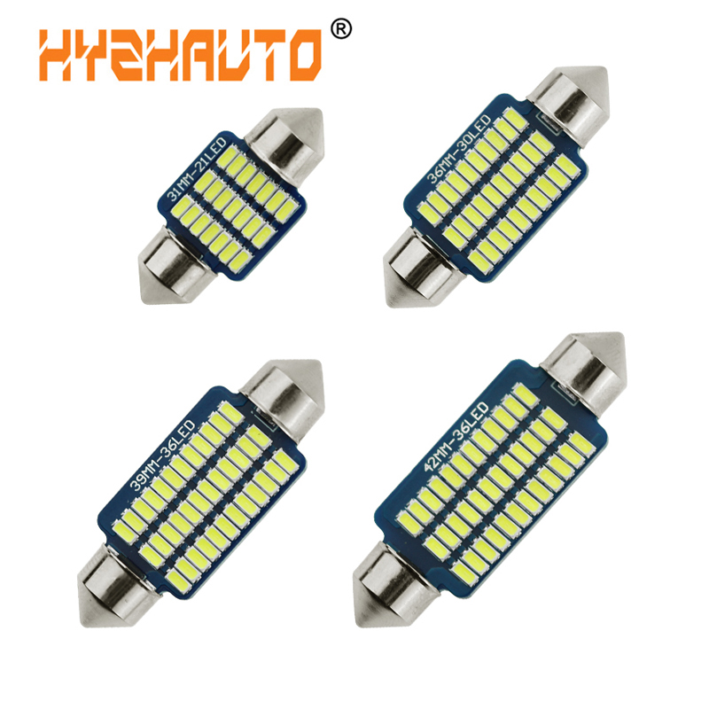 HYZHAUTO 10Pcs Festoon 31mm 36mm 39mm <font><b>42mm</b></font> <font><b>LED</b></font> <font><b>Bulbs</b></font> 4014 SMD C5w <font><b>LED</b></font> Car Interior Lamp License Plate Lights White 6000K 12V image