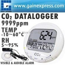 3-en-1 de Dióxido de Carbono CO2 Datalogger Monitor de Escritorio Calidad Del Aire Interior Temperatura Humedad Relativa RH 0 ~ 9999ppm Reloj