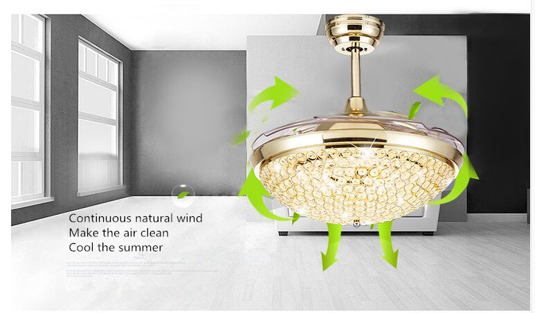 Modern French Elegant Crystal Round Shaped LED Ceiling Fan Lights with Foldable Invisiable Blades