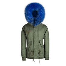 Korean style blue short coat faux fur short parka for Mr jacket
