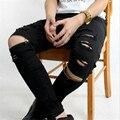 Мужчины байкер джинсы молния рваные джинсы для мужчин тощий проблемные тонкие мужские канье уэст узкие джинсы хип-хоп добычу черные джинсы