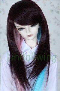 Парик из длинных волос 1/4 BJD DD SD LUT Dollfie, 7-8 дюймов, коричневый, розовый, синий