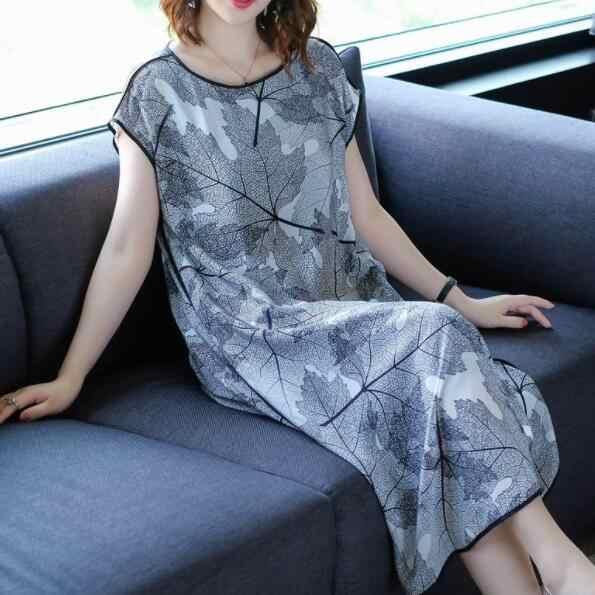 Высокое качество шелковое платье 2019 летние платья для женщин плюс размер 3xl большой размер элегантный Печатный шелк Длинные платья DV468