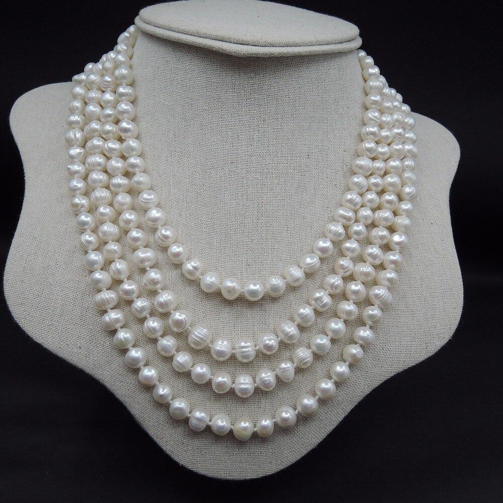Très long collier de perles, 100% NATURE perle d'eau douce LONG collier de 90 pouces-4 fois lignes