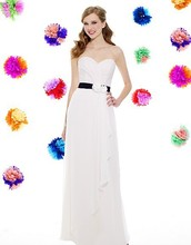 country style dress new years eve Chiffon A-line Sweetheart open back natural waist flowers Floor Length bridesmaid