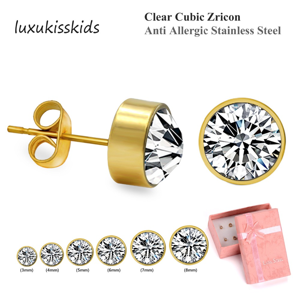 LUXUKISSKIDS New Style Women/Girl Stud Earrings Set,6 Pairs/Box Multiple Size Jewelry, Anti Allergic Stainless Steel ...