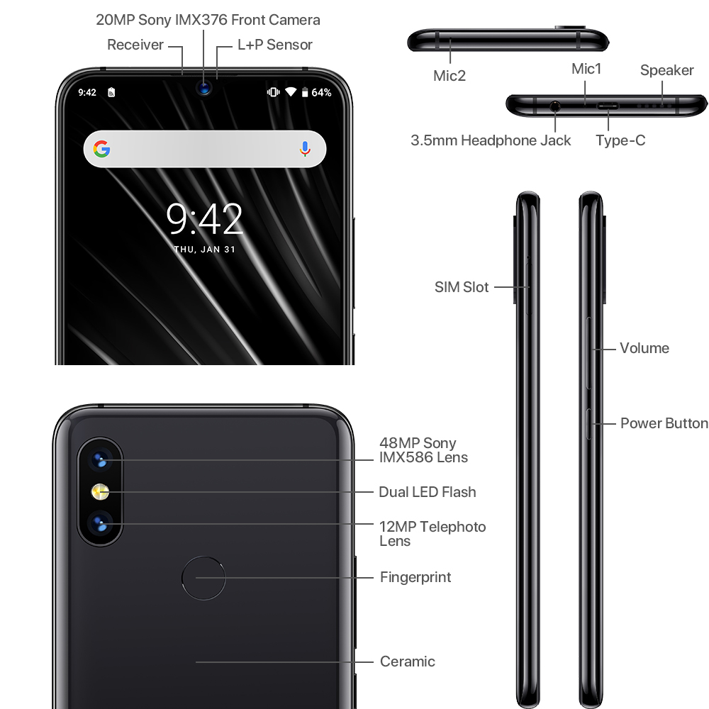 Global 4G UMIDIGI S3 Pro Android 9.0 Mobile Phone 48MP+12MP+20MP 5150mah Super Power 128GB 6GB 6.3