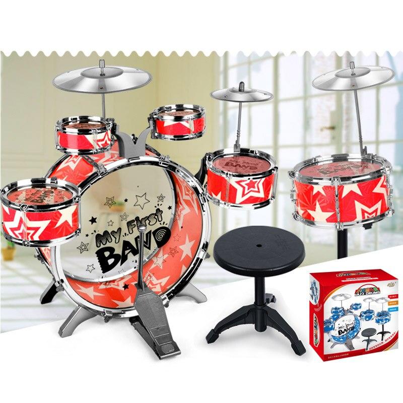 6 pièces Enfants batterie Pédale jouet Simulation jazz tambour percussion Musicale jouet> 3 ans instruments de musique pour enfants jouet cadeau